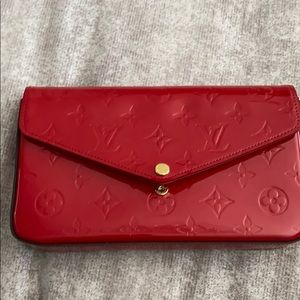 Louie Vuitton chain clutch red patent leather